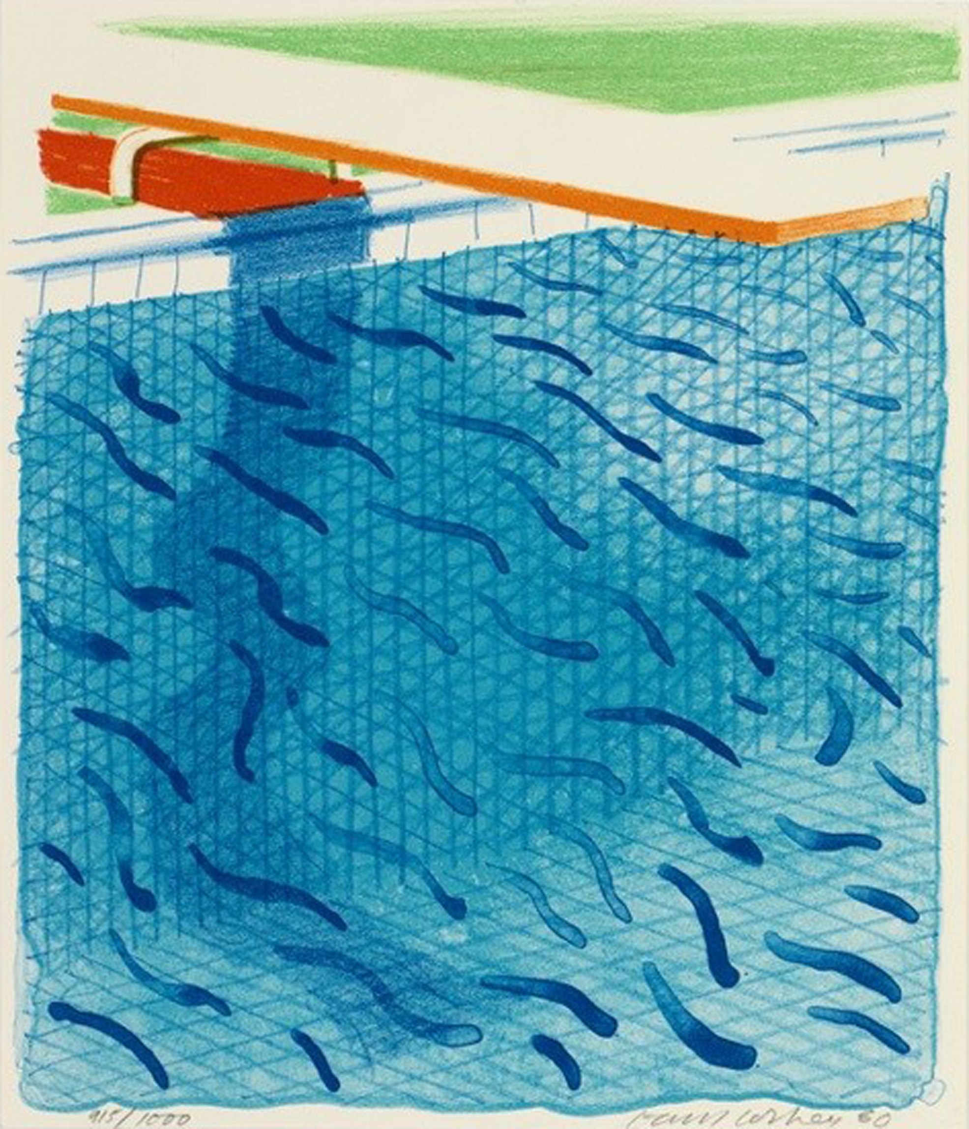 David Hockney, Pool Made with Paper and Blue Ink for Book